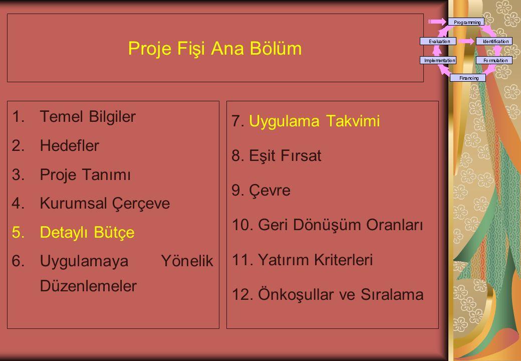 Proje Fişi Ana Bölüm 1.Temel Bilgiler 2.Hedefler 3.Proje Tanımı 4.Kurumsal Çerçeve 5.Detaylı Bütçe 6.Uygulamaya Yönelik Düzenlemeler 7.
