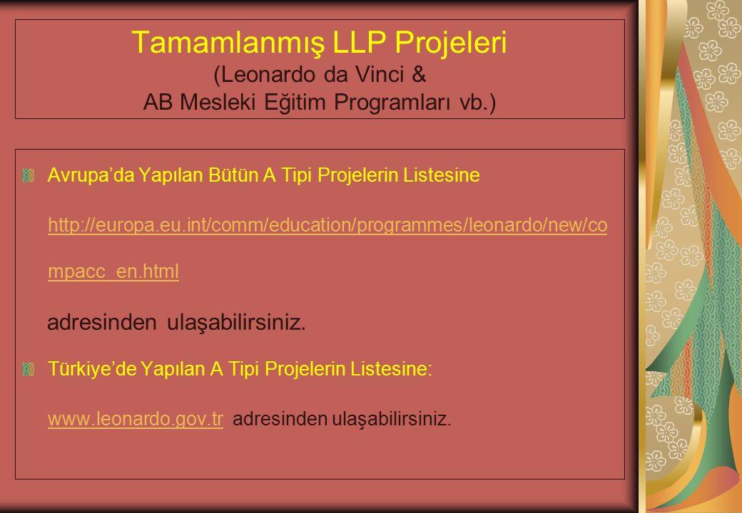 Tamamlanmış LLP Projeleri (Leonardo da Vinci & AB Mesleki Eğitim Programları vb.) Avrupa'da Yapılan Bütün A Tipi Projelerin Listesine http://europa.eu.int/comm/education/programmes/leonardo/new/co mpacc_en.html adresinden ulaşabilirsiniz.