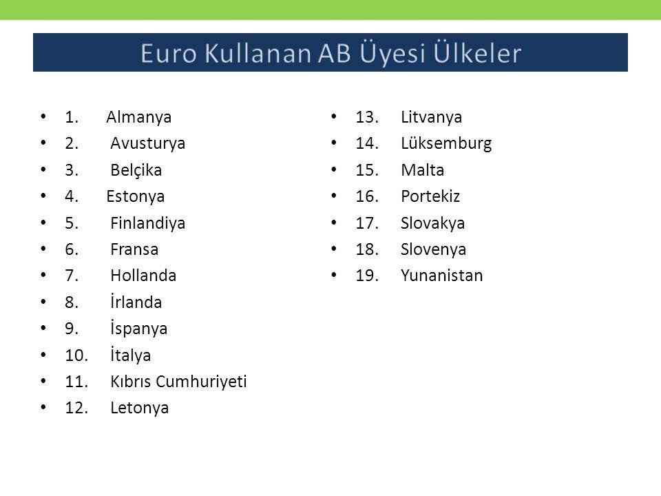 1.Almanya 2. Avusturya 3. Belçika 4.Estonya 5. Finlandiya 6. Fransa 7. Hollanda 8. İrlanda 9. İspanya 10. İtalya 11. Kıbrıs Cumhuriyeti 12. Letonya 13