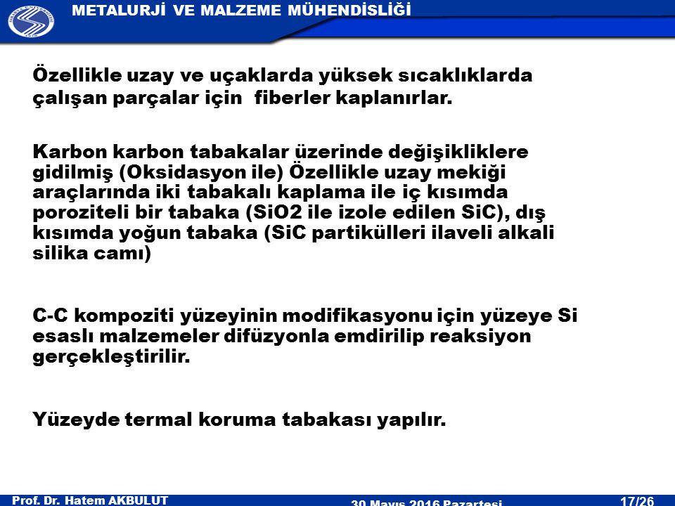 Prof. Dr. Hatem AKBULUT 30 Mayıs 2016 Pazartesi METALURJİ VE MALZEME MÜHENDİSLİĞİ 17/26 Özellikle uzay ve uçaklarda yüksek sıcaklıklarda çalışan parça
