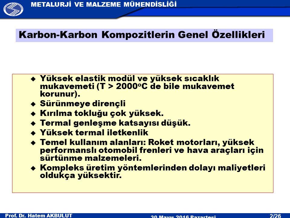 Prof. Dr. Hatem AKBULUT 30 Mayıs 2016 Pazartesi METALURJİ VE MALZEME MÜHENDİSLİĞİ 2/26 u Yüksek elastik modül ve yüksek sıcaklık mukavemeti (T > 2000