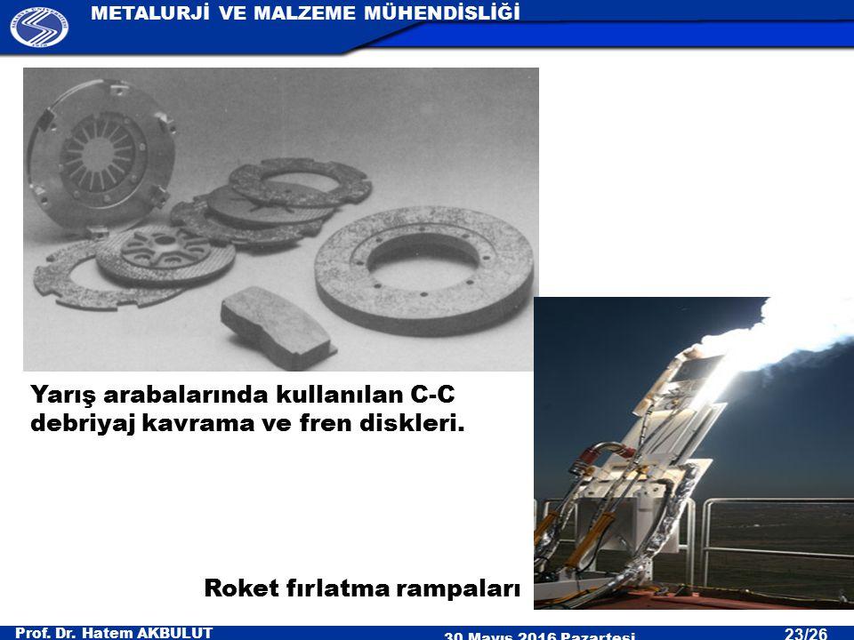 Prof. Dr. Hatem AKBULUT 30 Mayıs 2016 Pazartesi METALURJİ VE MALZEME MÜHENDİSLİĞİ 23/26 Yarış arabalarında kullanılan C-C debriyaj kavrama ve fren dis