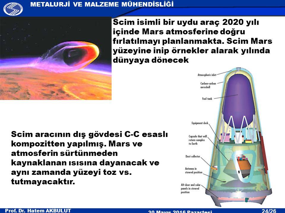 Prof. Dr. Hatem AKBULUT 30 Mayıs 2016 Pazartesi METALURJİ VE MALZEME MÜHENDİSLİĞİ 24/26 Scim isimli bir uydu araç 2020 yılı içinde Mars atmosferine do