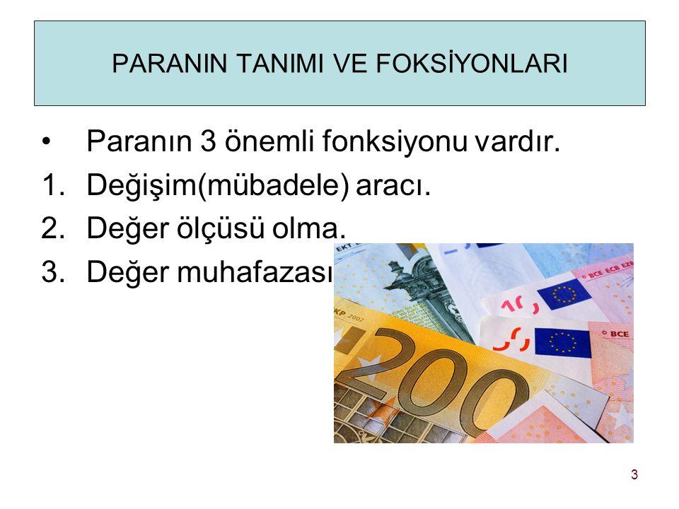 PARANIN TANIMI VE FOKSİYONLARI Paranın 3 önemli fonksiyonu vardır.