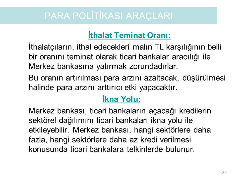 PARA POLİTİKASI ARAÇLARI İthalat Teminat Oranı: İthalatçıların, ithal edecekleri malın TL karşılığının belli bir oranını teminat olarak ticari bankala