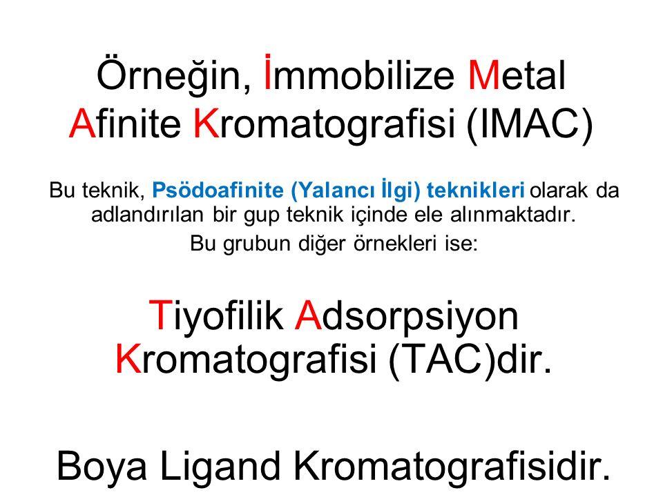 Örneğin, İmmobilize Metal Afinite Kromatografisi (IMAC) Bu teknik, Psödoafinite (Yalancı İlgi) teknikleri olarak da adlandırılan bir gup teknik içinde ele alınmaktadır.