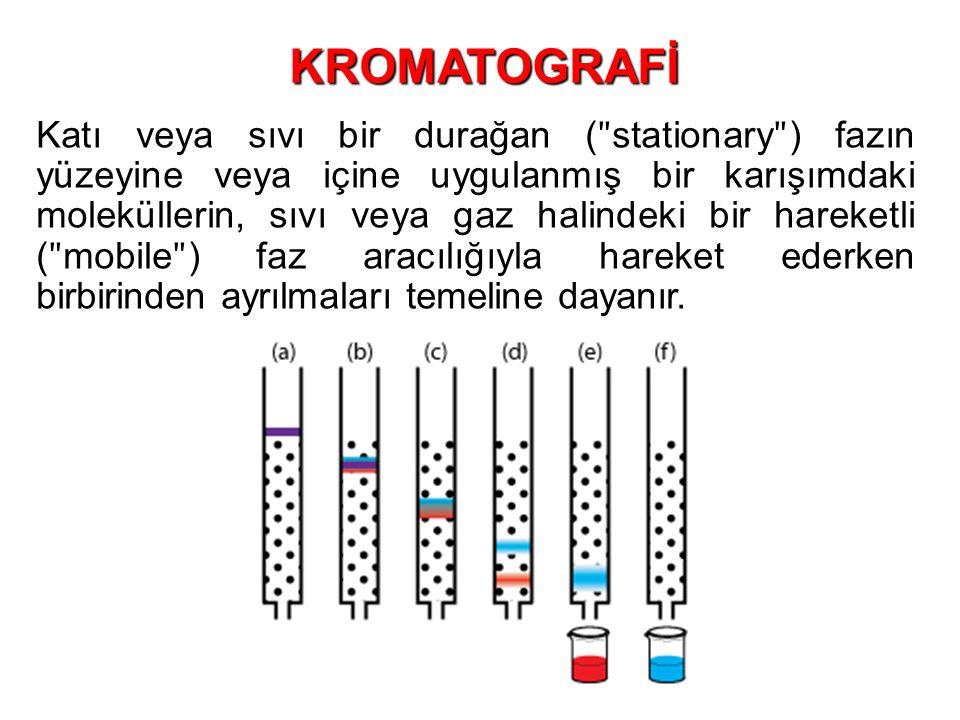 Katı veya sıvı bir durağan ( ʺ stationary ʺ ) fazın yüzeyine veya içine uygulanmış bir karışımdaki moleküllerin, sıvı veya gaz halindeki bir hareketli ( ʺ mobile ʺ ) faz aracılığıyla hareket ederken birbirinden ayrılmaları temeline dayanır.