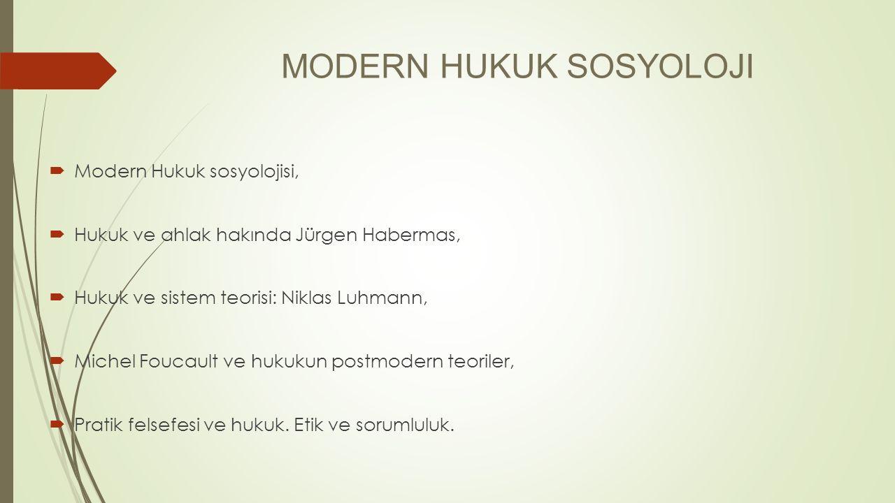MODERN HUKUK SOSYOLOJI  Modern Hukuk sosyolojisi,  Hukuk ve ahlak hakında Jürgen Habermas,  Hukuk ve sistem teorisi: Niklas Luhmann,  Michel Fouca