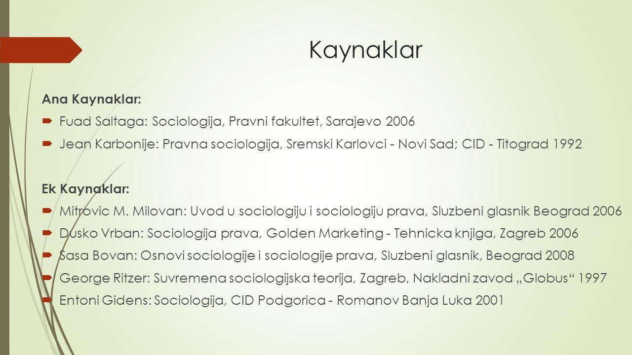 Kaynaklar Ana Kaynaklar:  Fuad Saltaga: Sociologija, Pravni fakultet, Sarajevo 2006  Jean Karbonije: Pravna sociologija, Sremski Karlovci - Novi Sad