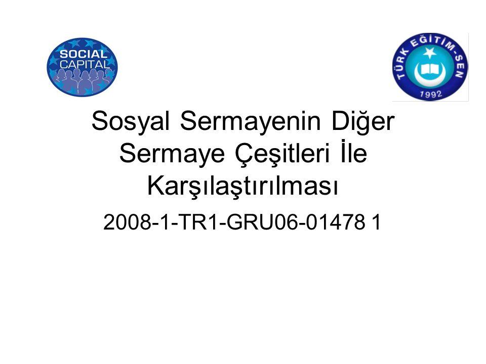 Sosyal Sermayenin Diğer Sermaye Çeşitleri İle Karşılaştırılması 2008-1-TR1-GRU06-01478 1