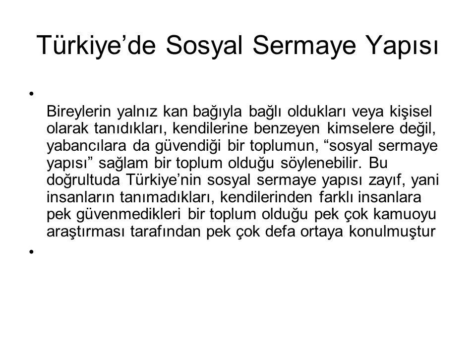 Türkiye'de Sosyal Sermaye Yapısı Bireylerin yalnız kan bağıyla bağlı oldukları veya kişisel olarak tanıdıkları, kendilerine benzeyen kimselere değil,