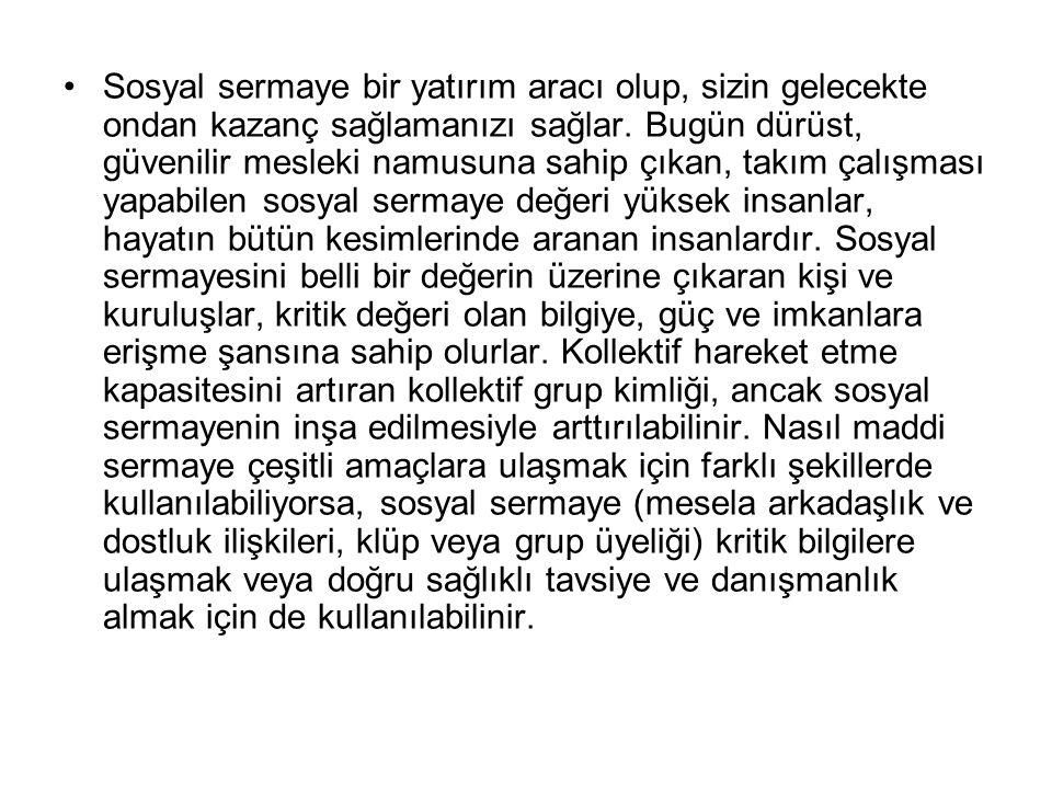 Oysa Türkiye'de aile dayanışması modelinin belirlediği bir refah rejimi, kişisel ilişki ağlarıyla sınırlı bir güven ilişkisini yansıtan bir sosyal sermaye yapısıyla birlikte yer almaktadır.