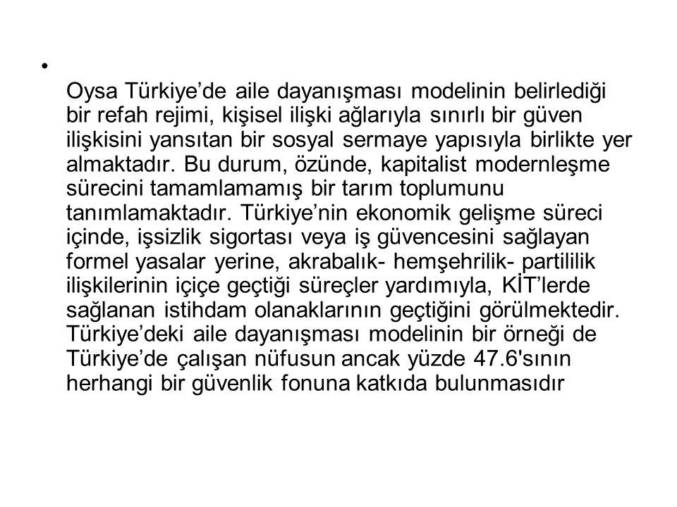 Oysa Türkiye'de aile dayanışması modelinin belirlediği bir refah rejimi, kişisel ilişki ağlarıyla sınırlı bir güven ilişkisini yansıtan bir sosyal ser