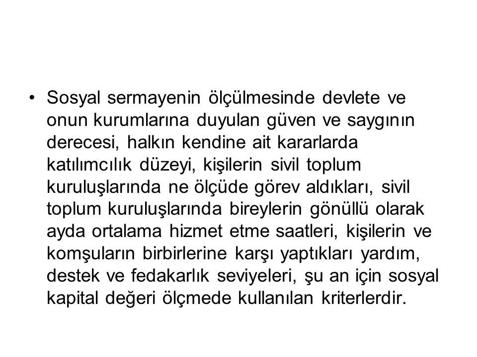 Türkiye'de Sosyal Sermaye Yapısı Bireylerin yalnız kan bağıyla bağlı oldukları veya kişisel olarak tanıdıkları, kendilerine benzeyen kimselere değil, yabancılara da güvendiği bir toplumun, sosyal sermaye yapısı sağlam bir toplum olduğu söylenebilir.