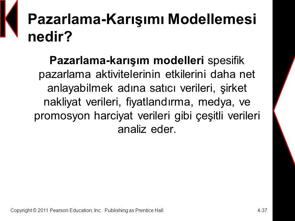 Copyright © 2011 Pearson Education, Inc. Publishing as Prentice Hall 4-37 Pazarlama-Karışımı Modellemesi nedir? Pazarlama-karışım modelleri spesifik p
