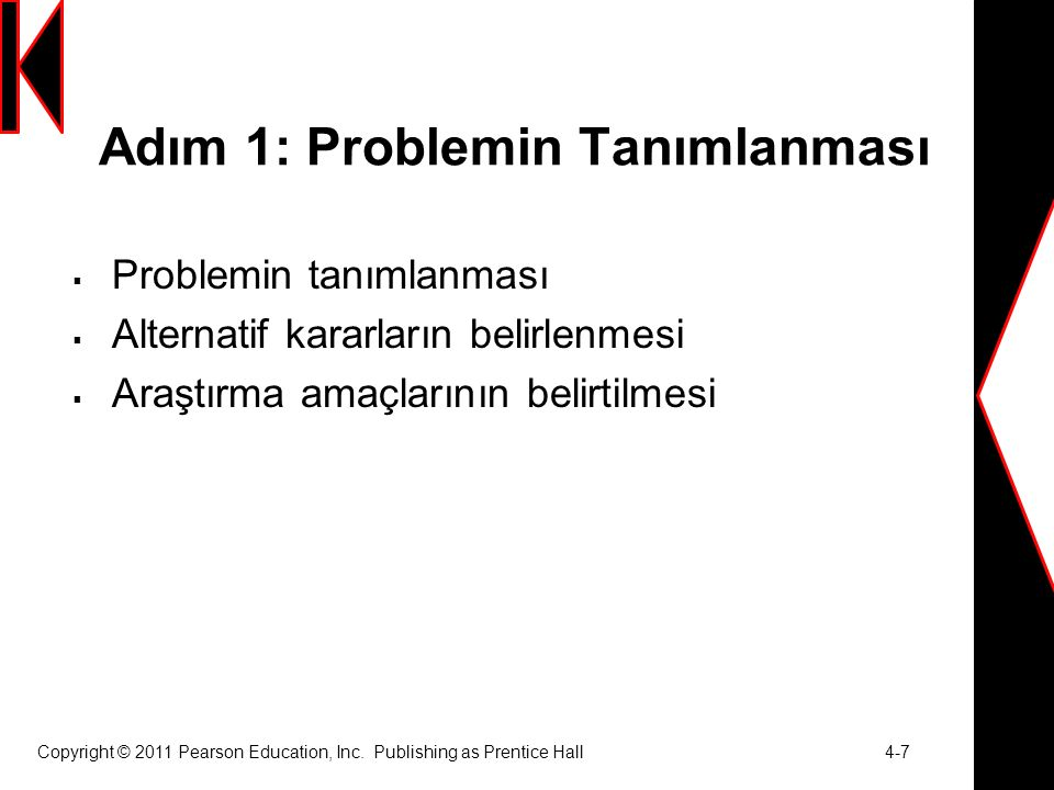 Copyright © 2011 Pearson Education, Inc. Publishing as Prentice Hall 4-7 Adım 1: Problemin Tanımlanması  Problemin tanımlanması  Alternatif kararlar