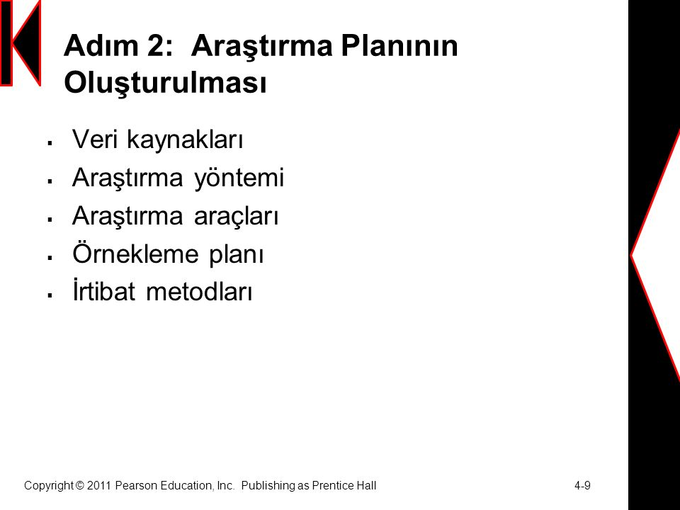 Copyright © 2011 Pearson Education, Inc. Publishing as Prentice Hall 4-9 Adım 2: Araştırma Planının Oluşturulması  Veri kaynakları  Araştırma yöntem