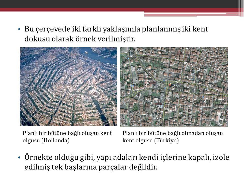 Bu çerçevede iki farklı yaklaşımla planlanmış iki kent dokusu olarak örnek verilmiştir.