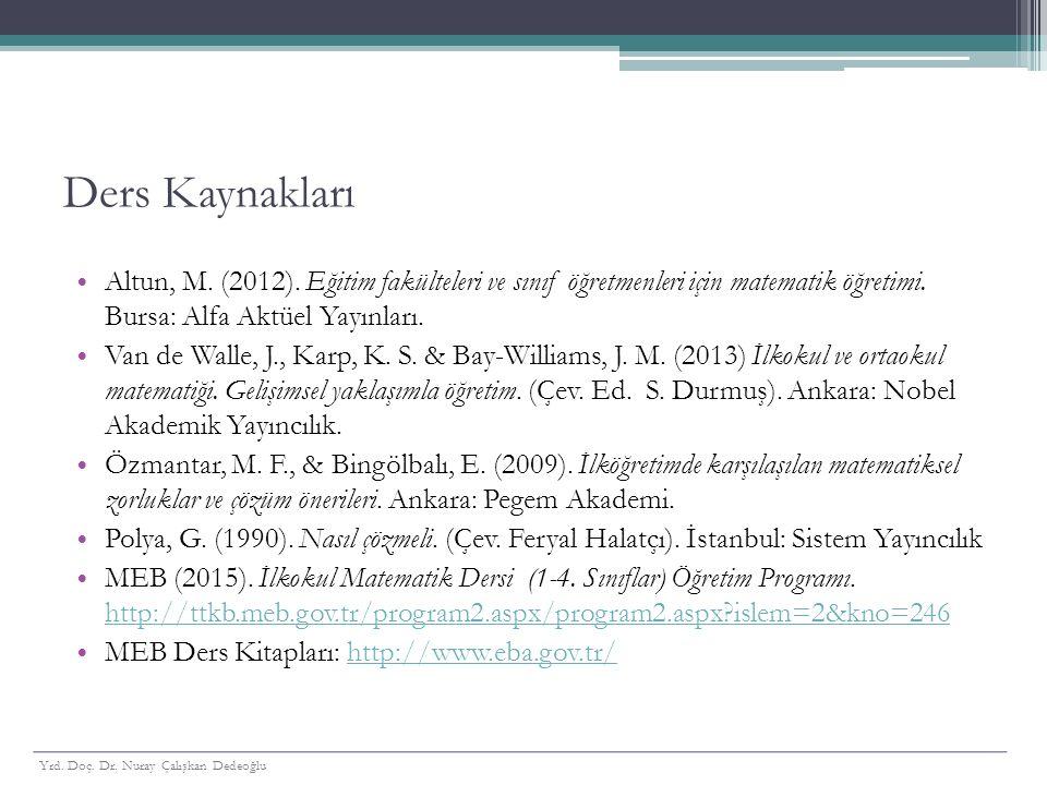 Ders Kaynakları Altun, M. (2012). Eğitim fakülteleri ve sınıf öğretmenleri için matematik öğretimi. Bursa: Alfa Aktüel Yayınları. Van de Walle, J., Ka