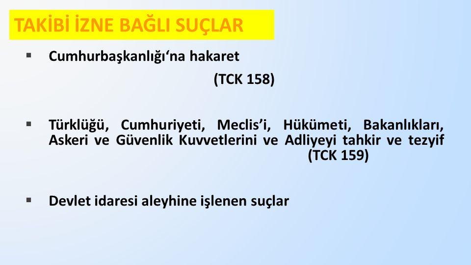  Cumhurbaşkanlığı'na hakaret (TCK 158)  Türklüğü, Cumhuriyeti, Meclis'i, Hükümeti, Bakanlıkları, Askeri ve Güvenlik Kuvvetlerini ve Adliyeyi tahkir