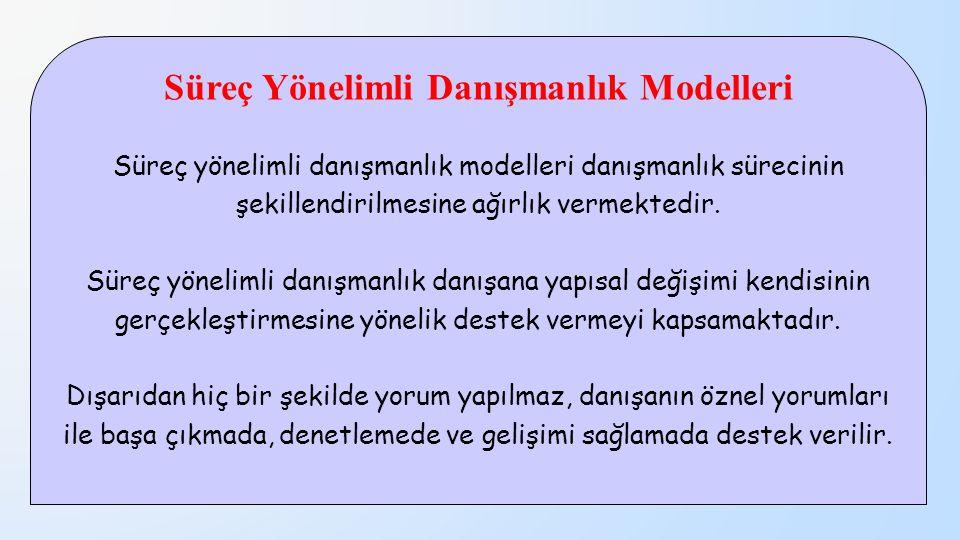 Süreç Yönelimli Danışmanlık Modelleri Süreç yönelimli danışmanlık modelleri danışmanlık sürecinin şekillendirilmesine ağırlık vermektedir. Süreç yönel