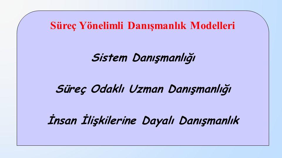 Süreç Yönelimli Danışmanlık Modelleri Sistem Danışmanlığı Süreç Odaklı Uzman Danışmanlığı İnsan İlişkilerine Dayalı Danışmanlık