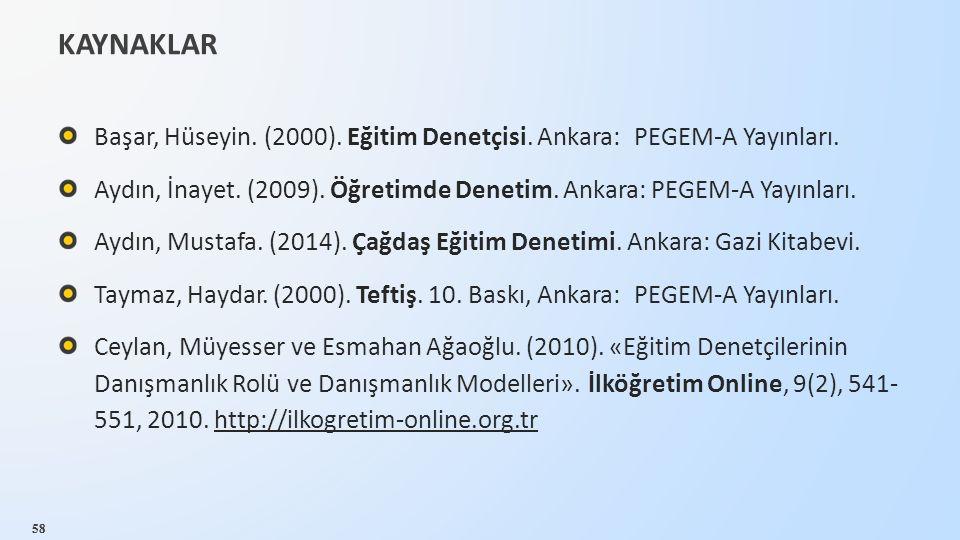 58 KAYNAKLAR 58 Başar, Hüseyin. (2000). Eğitim Denetçisi. Ankara: PEGEM-A Yayınları. Aydın, İnayet. (2009). Öğretimde Denetim. Ankara: PEGEM-A Yayınla