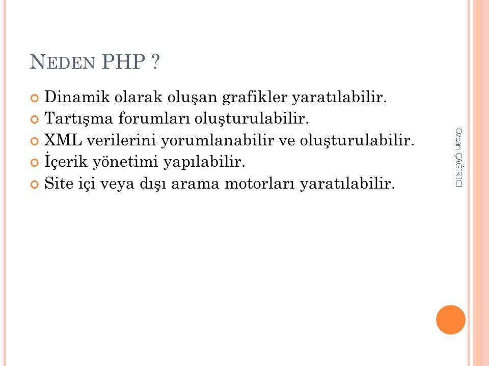 N EDEN PHP ? Dinamik olarak oluşan grafikler yaratılabilir. Tartışma forumları oluşturulabilir. XML verilerini yorumlanabilir ve oluşturulabilir. İçer
