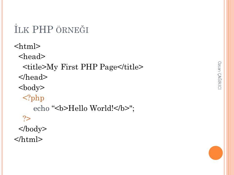 "İ LK PHP ÖRNEĞI My First PHP Page <?php echo "" Hello World!"