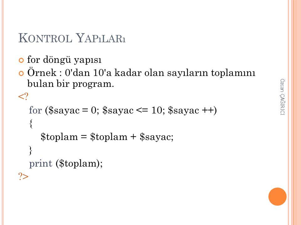 K ONTROL Y APıLARı for döngü yapısı Örnek : 0'dan 10'a kadar olan sayıların toplamını bulan bir program. <? for ($sayac = 0; $sayac <= 10; $sayac ++)