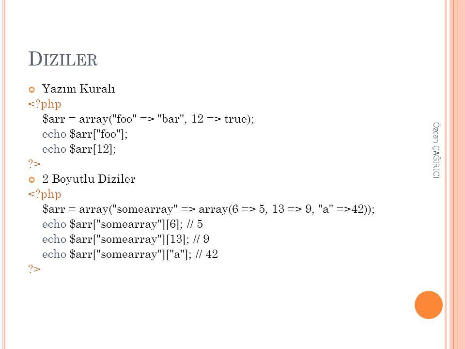 D IZILER Yazım Kuralı <?php $arr = array( foo => bar , 12 => true); echo $arr[ foo ]; echo $arr[12]; ?> 2 Boyutlu Diziler <?php $arr = array( somearray => array(6 => 5, 13 => 9, a =>42)); echo $arr[ somearray ][6]; // 5 echo $arr[ somearray ][13]; // 9 echo $arr[ somearray ][ a ]; // 42 ?> Özcan ÇAĞIRICI