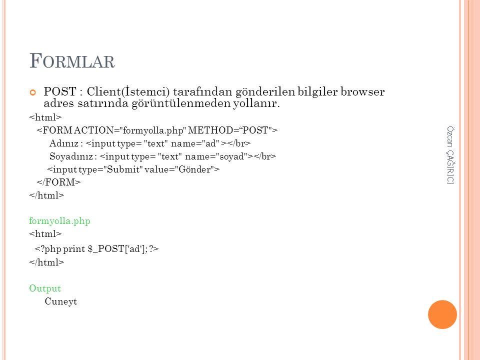 F ORMLAR POST : Client(İstemci) tarafından gönderilen bilgiler browser adres satırında görüntülenmeden yollanır. Adınız : Soyadınız : formyolla.php Ou