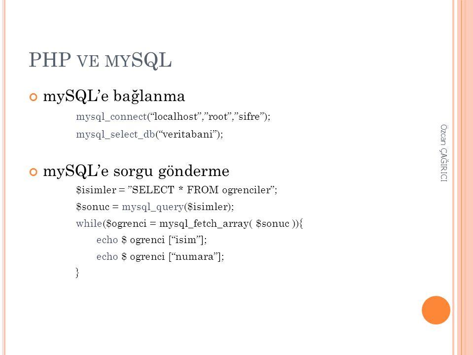 """PHP VE MY SQL mySQL'e bağlanma mysql_connect(""""localhost"""",""""root"""",""""sifre""""); mysql_select_db(""""veritabani""""); mySQL'e sorgu gönderme $isimler = """"SELECT * F"""