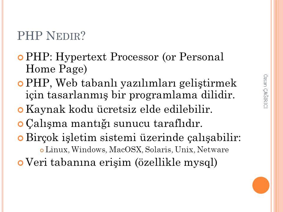 PHP N EDIR ? PHP: Hypertext Processor (or Personal Home Page) PHP, Web tabanlı yazılımları geliştirmek için tasarlanmış bir programlama dilidir. Kayna