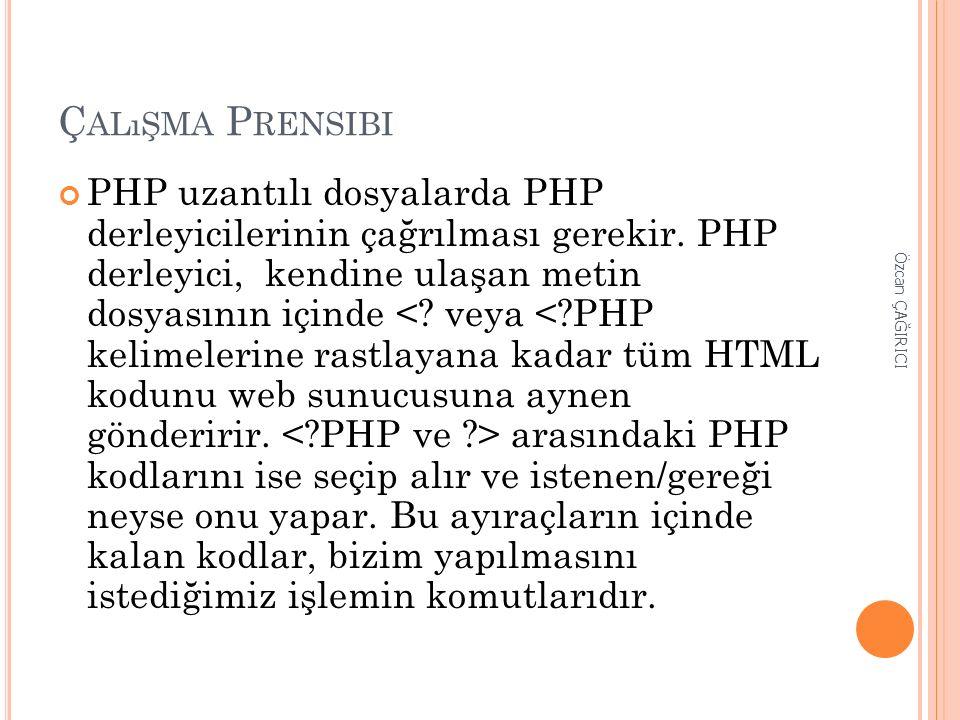 Ç ALıŞMA P RENSIBI PHP uzantılı dosyalarda PHP derleyicilerinin çağrılması gerekir. PHP derleyici, kendine ulaşan metin dosyasının içinde arasındaki P