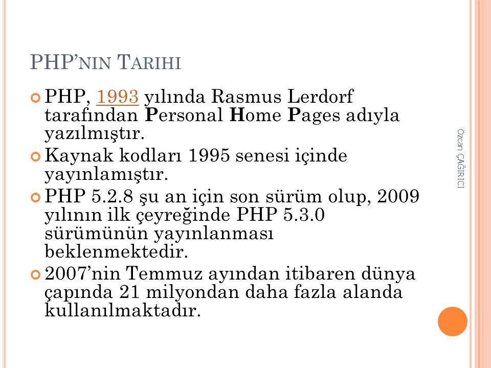 PHP' NIN T ARIHI PHP, 1993 yılında Rasmus Lerdorf tarafından P ersonal H ome P ages adıyla yazılmıştır.1993 Kaynak kodları 1995 senesi içinde yayınlam