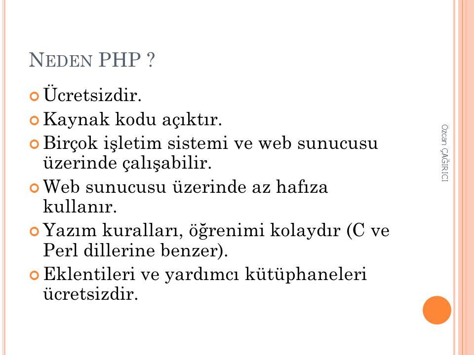 N EDEN PHP ? Ücretsizdir. Kaynak kodu açıktır. Birçok işletim sistemi ve web sunucusu üzerinde çalışabilir. Web sunucusu üzerinde az hafıza kullanır.
