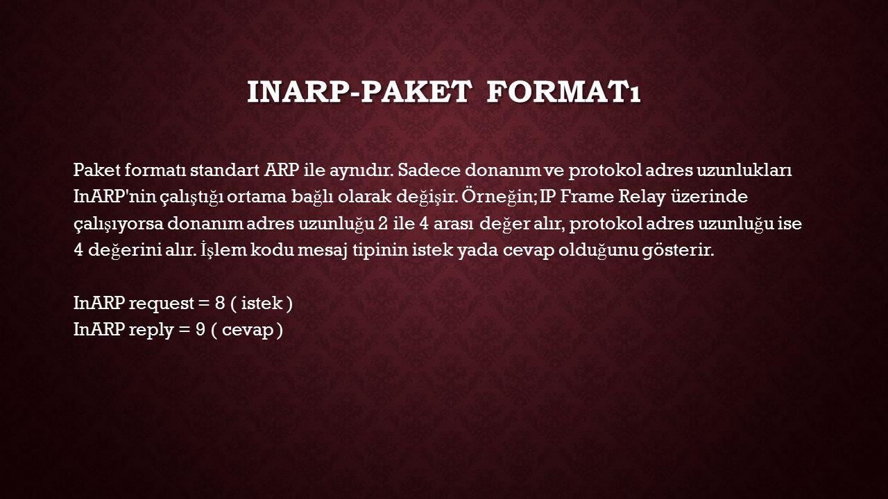 INARP-PAKET FORMATı Paket formatı standart ARP ile aynıdır. Sadece donanım ve protokol adres uzunlukları InARP'nin çalı ş tı ğ ı ortama ba ğ lı olarak