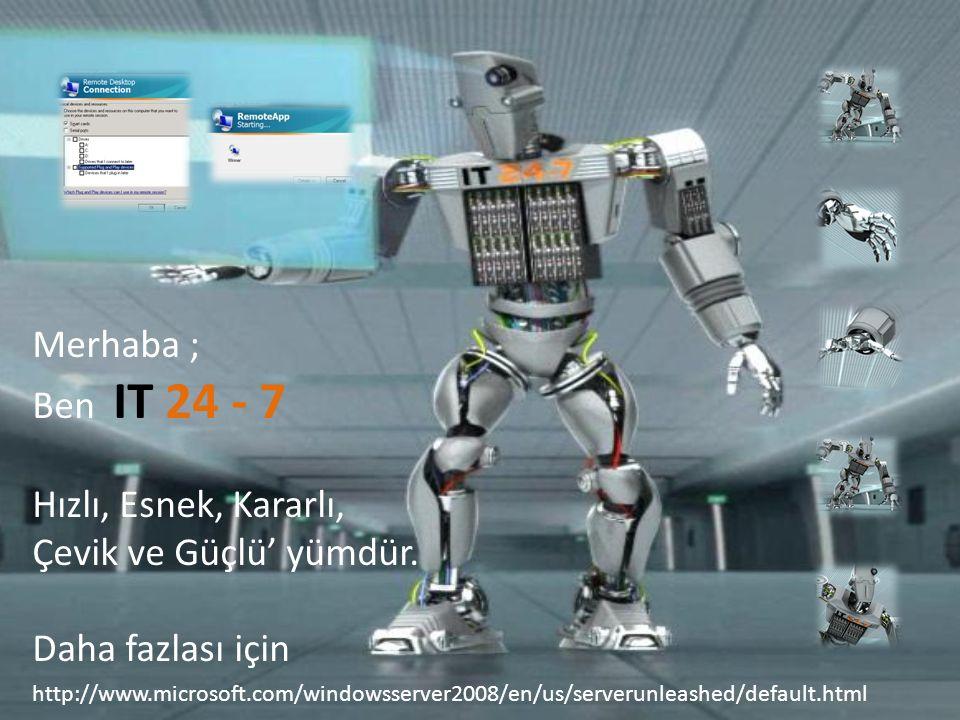 http://www.microsoft.com/windowsserver2008/en/us/serverunleashed/default.html Merhaba ; Ben IT 24 - 7 Hızlı, Esnek, Kararlı, Çevik ve Güçlü' yümdür.