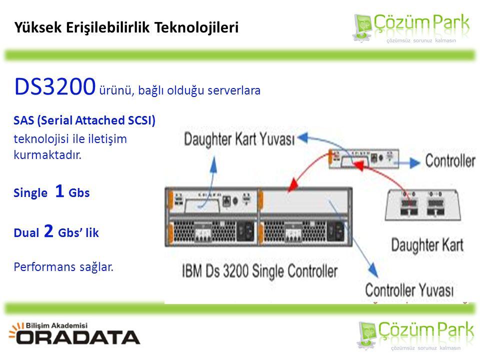 DS3200 ürünü, bağlı olduğu serverlara SAS (Serial Attached SCSI) teknolojisi ile iletişim kurmaktadır.