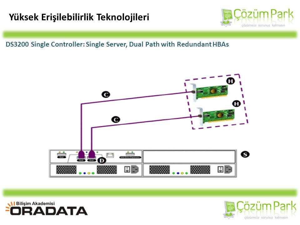 Yüksek Erişilebilirlik Teknolojileri DS3200 Single Controller: Single Server, Dual Path with Redundant HBAs