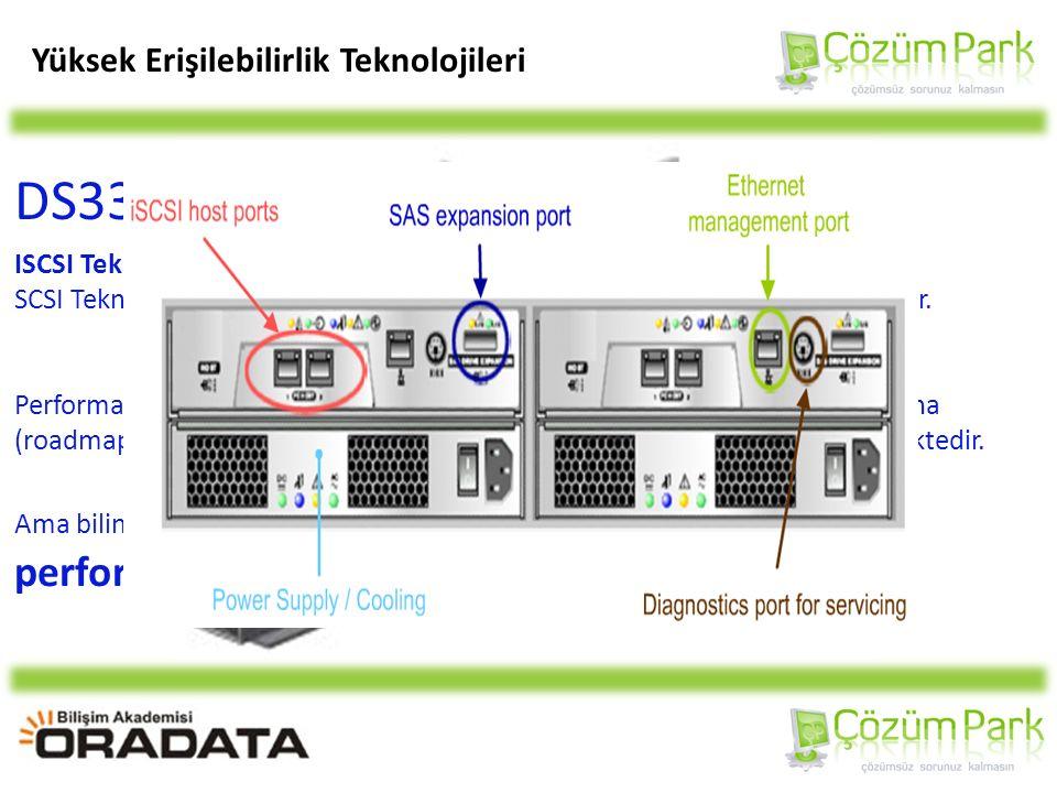 Yüksek Erişilebilirlik Teknolojileri DS3300 ürünü, ISCSI Teknolojisi; TCP/IP alt yapısı kullanılan networklerde, SCSI Teknolojisinin IP Protokolü ile birleşmesi sonucu oluşmuş bir teknolojidir.