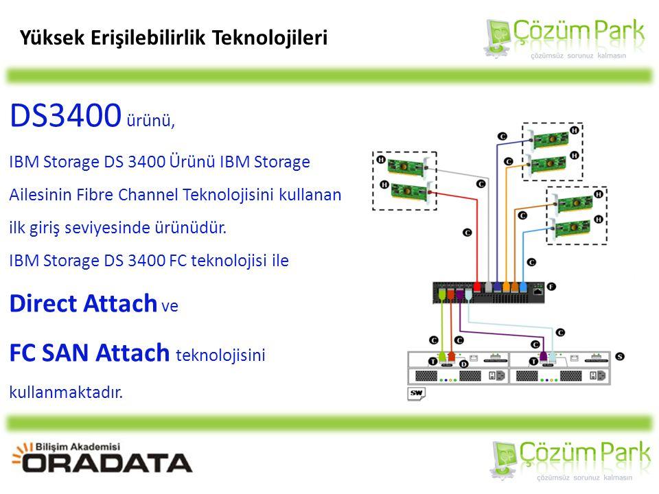 Yüksek Erişilebilirlik Teknolojileri DS3400 ürünü, IBM Storage DS 3400 Ürünü IBM Storage Ailesinin Fibre Channel Teknolojisini kullanan ilk giriş seviyesinde ürünüdür.