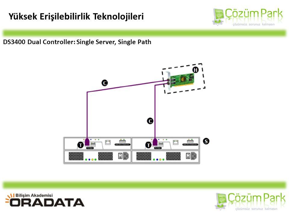 Yüksek Erişilebilirlik Teknolojileri DS3400 Dual Controller: Single Server, Single Path