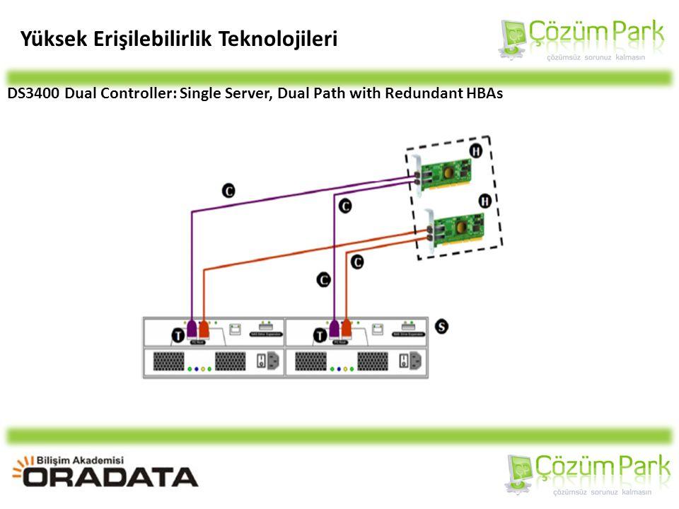 Yüksek Erişilebilirlik Teknolojileri DS3400 Dual Controller: Single Server, Dual Path with Redundant HBAs