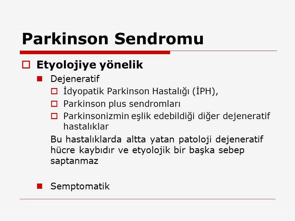 Parkinson Sendromu  Etyolojiye yönelik Dejeneratif  İdyopatik Parkinson Hastalığı (İPH),  Parkinson plus sendromları  Parkinsonizmin eşlik edebild