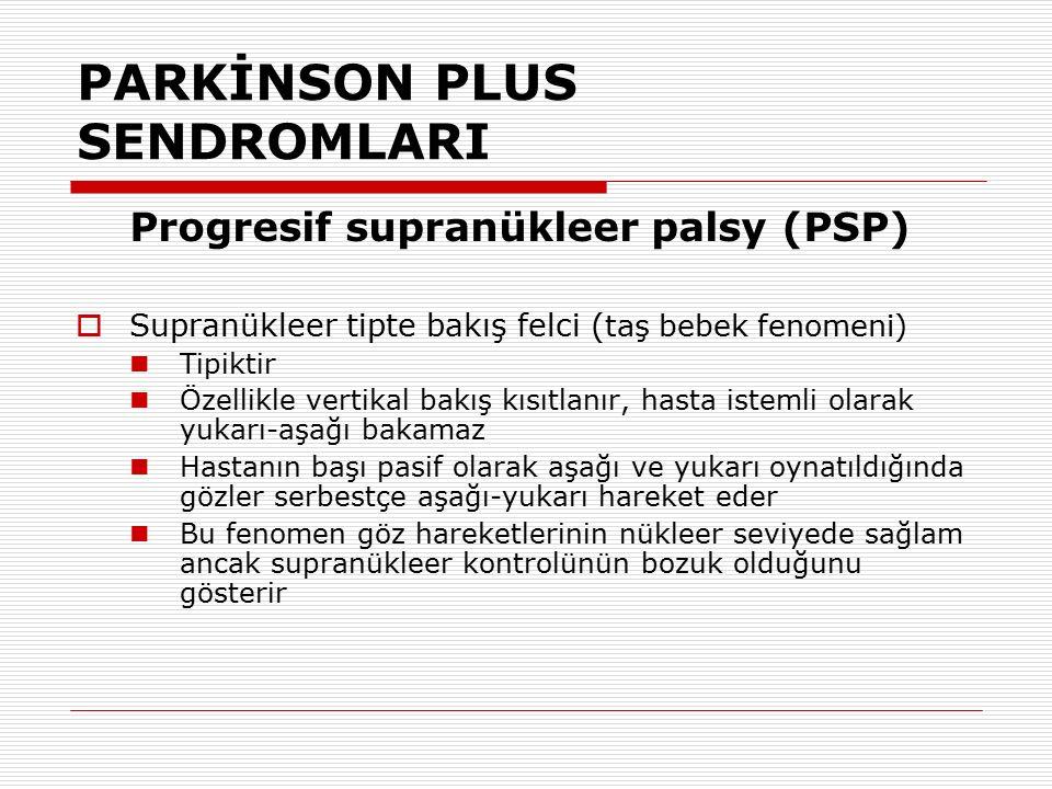 PARKİNSON PLUS SENDROMLARI Progresif supranükleer palsy (PSP)  Supranükleer tipte bakış felci ( taş bebek fenomeni) Tipiktir Özellikle vertikal bakış