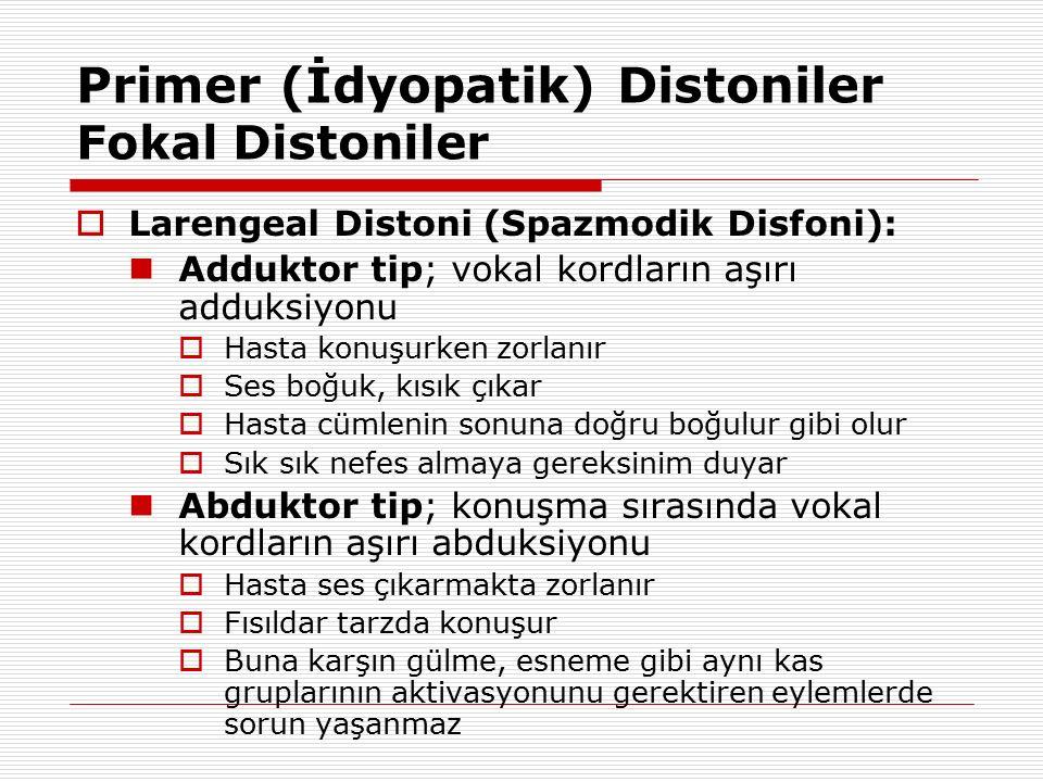 Primer (İdyopatik) Distoniler Fokal Distoniler  Larengeal Distoni (Spazmodik Disfoni): Adduktor tip; vokal kordların aşırı adduksiyonu  Hasta konuşu