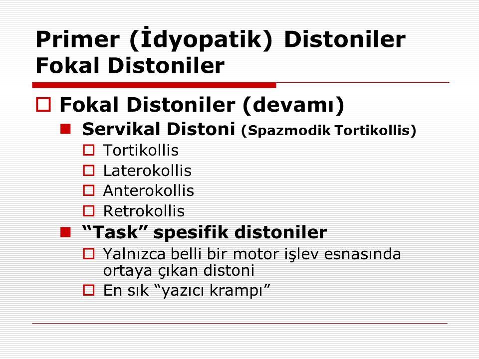 Primer (İdyopatik) Distoniler Fokal Distoniler  Fokal Distoniler (devamı) Servikal Distoni (Spazmodik Tortikollis)  Tortikollis  Laterokollis  Ant