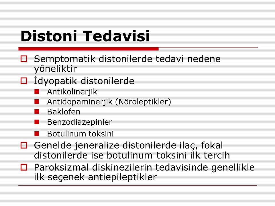 Distoni Tedavisi  Semptomatik distonilerde tedavi nedene yöneliktir  İdyopatik distonilerde Antikolinerjik Antidopaminerjik (Nöroleptikler) Baklofen